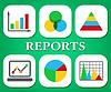 Informes Gráficos Muestra Negocio gráfico y los datos | Ilustración