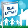 Immobilienschild Gibt für den Verkauf und Gebäude | Stock Illustration