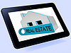 Immobilien-Haus-Tablet Mittel Häuser oder Gebäude O | Stock Illustration