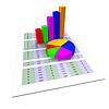 Gráfico circular muestra el gráfico de asunto y la cartografía | Ilustración