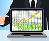 Crecimiento gráfico de la carta Muestra aumentar las ventas de lucro | Ilustración