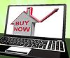 Jetzt kaufen Haus Laptop Zeigt Real Estate On Market | Stock Illustration