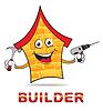 Haus Builder Stellt Immobilien und Wohnung | Stock Illustration