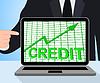 Muestra la carta del gráfico de crédito Comprar Aumentar crece la deuda | Ilustración
