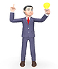 Lightbulb Businessman Means Render And Think 3d Ren | Stock Illustration