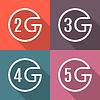 Icons der verschiedenen Generationen mobiler Kommunikation