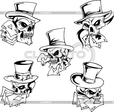 Schädel mit Spielkarten | Stock Vektorgrafik |ID 3444761