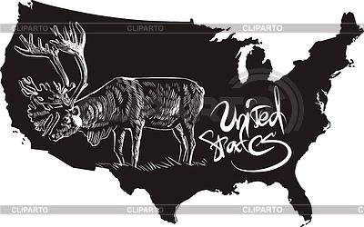 Caribou und US-Übersichtskarte | Stock Vektorgrafik |ID 3493006