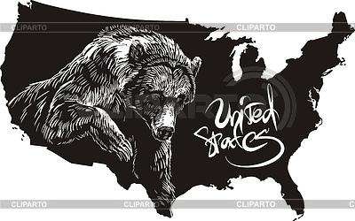 Grizzly Bear i zarys mapy USA | Klipart wektorowy |ID 3493034