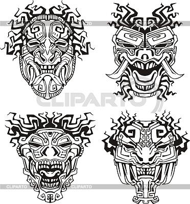 Aztec totem maski potworów | Klipart wektorowy |ID 3503030