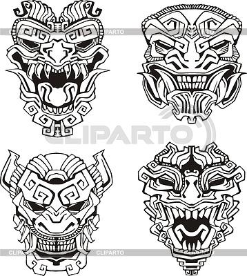 Aztec totem maski potworów | Klipart wektorowy |ID 3503038