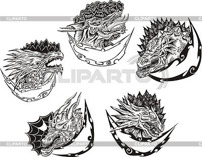 Dekorative Vorlagen mit Drachenköpfe | Stock Vektorgrafik |ID 3580379