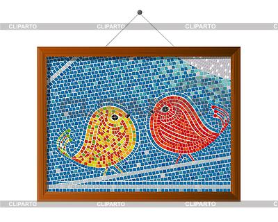 Mosaikfliesen umrahmt tweet birds background lirch