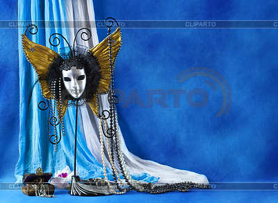 Tło z karnawałowe maski i perłami | Foto stockowe wysokiej rozdzielczości |ID 3511628