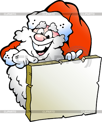 Weihnachtsmann zeigt auf eine Tafel | Stock Vektorgrafik |ID 3390907