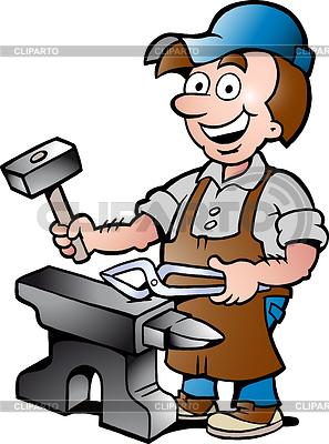 Hand gezeichnet und glückliche Blacksmith Worker | Stock Vektorgrafik |ID 3576688