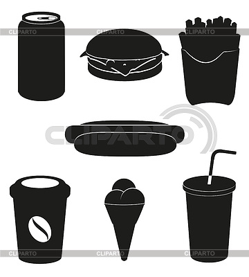 设置图标快餐黑色剪影 | 向量插图 |ID 3534179