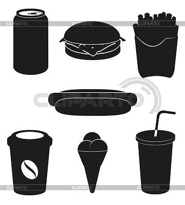 Set von Fast-Food-Icons - schwarze Silhouette | Stock Vektorgrafik |ID 3534179