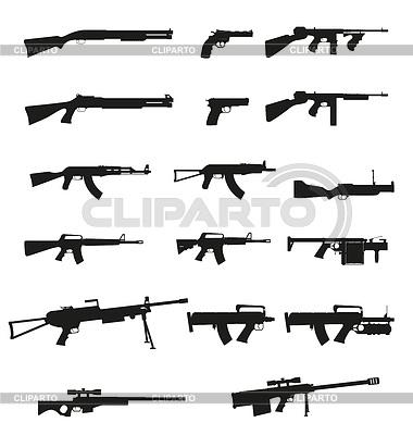Waffe und gun set collection icons black silhouett | Stock Vektorgrafik |ID 3570812