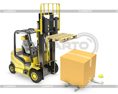 Box aus dem Gabelstapler fiel auf den Arbeiter | Illustration mit hoher Auflösung |ID 3439251