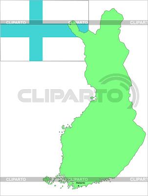 Финляндия флаг и карта векторная