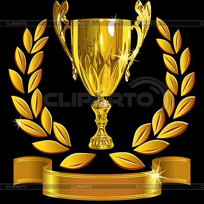 冠军金杯,月桂花环和彩带 | 向量插图 |ID 3442473