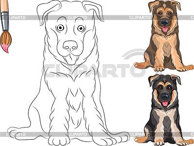 Kolorowanka z uśmiechem psa owczarka niemieckiego szczeniaka | Klipart wektorowy |ID 3497696