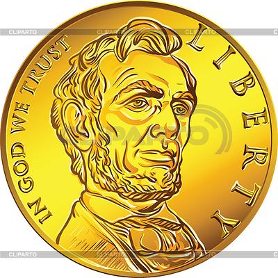 Amerikanisches Geld Goldmünze einem Dollar | Stock Vektorgrafik |ID 3534235