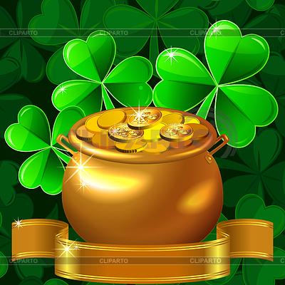 Открытка на день Св. Патрика с клевером и горшком золота | Векторный клипарт |ID 3566919