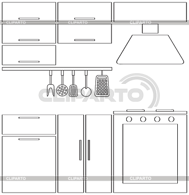 Kitchen silhouette | Stock Photos and Vektor EPS Clipart ...
