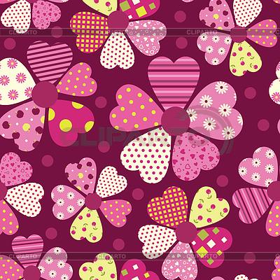 Шаблон сердца цветок векторный