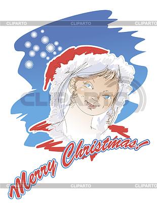 Portret Snow Maiden na kartki świąteczne | Klipart wektorowy |ID 3480256