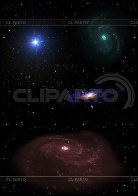 Галактика в свободном пространстве | Иллюстрация большого размера |ID 3477729