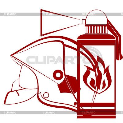 Feuerwehr-Helm und Feuerlöscher | Stock Vektorgrafik |ID 3441345