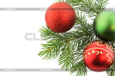 Weihnachtes-Zweig der Tanne mit Kugeln | Foto mit hoher Auflösung |ID 3465929