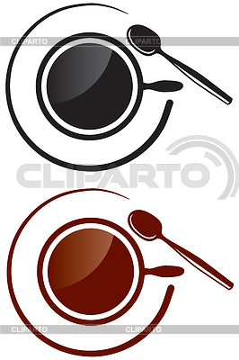 image of a cup with hot drink and saucer and spoon - © agrino