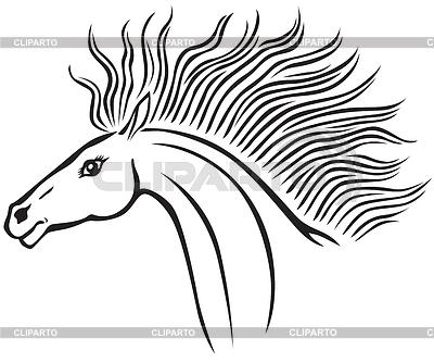 Черная голова коня векторный клипарт