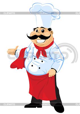 Happy chef Koch zeigt auf der rechten Seite | Stock Vektorgrafik |ID 3465025