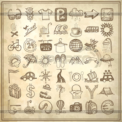 49 hand drawing doodle icon set, travel theme | Klipart wektorowy |ID 3658467