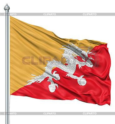 Waving Flag of Bhutan | Stockowa ilustracja wysokiej rozdzielczości |ID 3531104