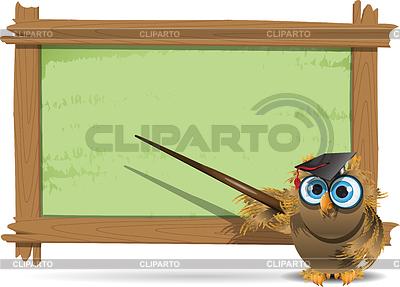 Школьная доска с надписью и сова brux