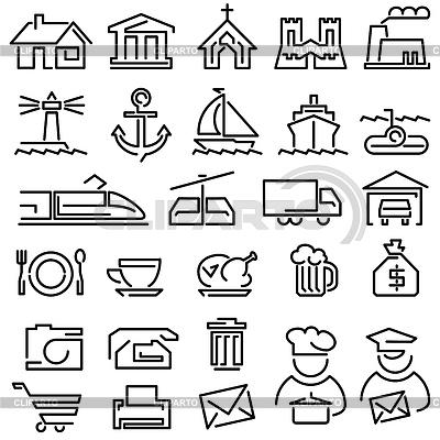 Zestaw ikon konspektu | Klipart wektorowy |ID 3411699