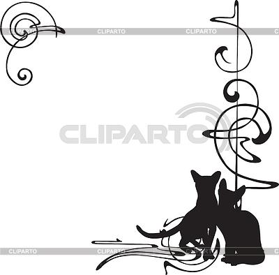 패턴과 고양이와 프레임 | 벡터 클립 아트 |ID 3384491