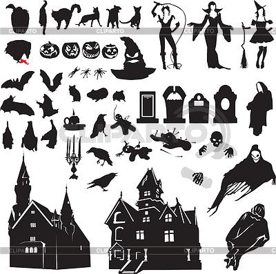 Zestaw sylwetki symbolizujących Halloween | Klipart wektorowy |ID 3388596