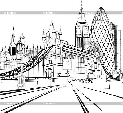 Sketch silhouette of London | Klipart wektorowy |ID 3440091