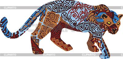 Jaguar w strukturze etnicznej Indian Ameryki | Klipart wektorowy |ID 3478032