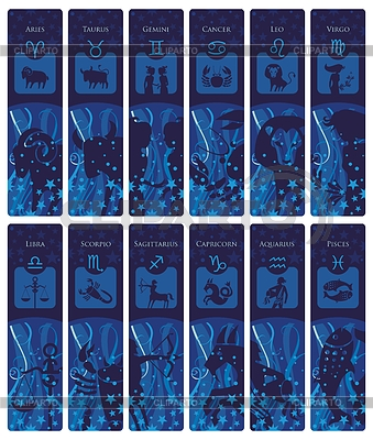 Lesezeichen mit Tierkreiszeichen | Stock Vektorgrafik |ID 3390676
