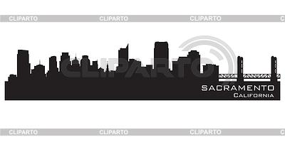 Sacramento, California skyline. Szczegółowa sylwetka | Klipart wektorowy |ID 3387153