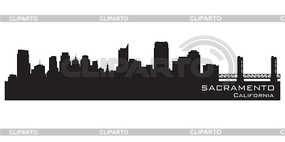 Sacramento, Kalifornien - Skyline. Detaillierte silhouette | Stock Vektorgrafik |ID 3387153