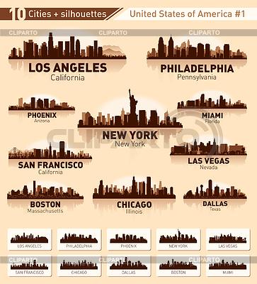 Skyline miasta ustawić. 10 miast USA | Klipart wektorowy |ID 3446756